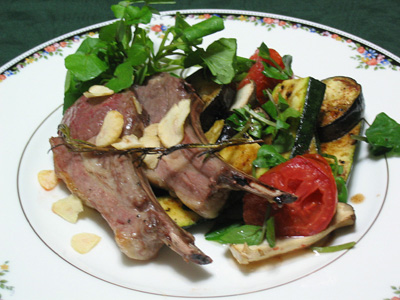 ラムの香草焼きと焼き野菜